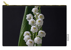Lily Of The Valley On Black Carry-all Pouch