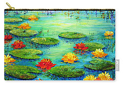 Carry-all Pouch featuring the painting Lily Pond by Teresa Wegrzyn