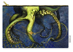 Lime Green Octopus With Net Carry-all Pouch