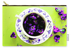 Lime Violet Tea Cup Carry-all Pouch