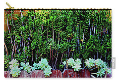 Line Of Succulents And Red Fence Carry-all Pouch