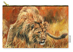 Carry-all Pouch featuring the painting Lion Alert by David Stribbling