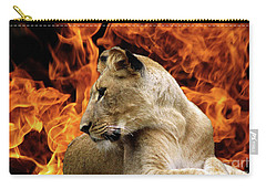 Lion And Fire Carry-all Pouch