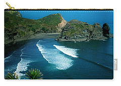 Carry-all Pouch featuring the photograph Lion Beach Piha New Zealand by Mark Dodd