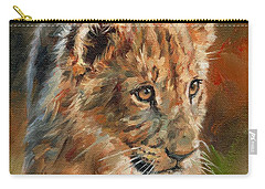 Carry-all Pouch featuring the painting Lion Cub Portrait by David Stribbling