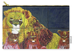 Carry-all Pouch featuring the painting Lion Family by Donald J Ryker III