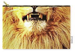 Carry-all Pouch featuring the photograph Lion King Smiling by Ayasha Loya