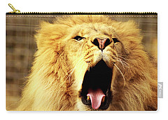 Carry-all Pouch featuring the photograph Lion King Yawning by Ayasha Loya