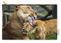 Lion Mother Licking Her Cub Carry-all Pouch