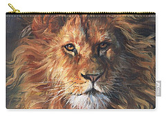 Lion Portrait Carry-all Pouch by David Stribbling