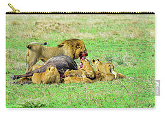 Lion Pride With Cape Buffalo Capture Carry-all Pouch