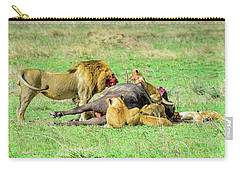 Lion Pride With Cape Buffalo Carry-all Pouch