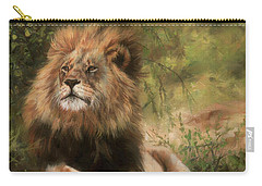 Carry-all Pouch featuring the painting Lion Resting by David Stribbling