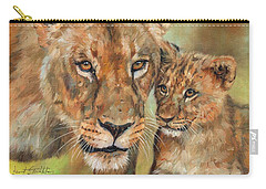 Carry-all Pouch featuring the painting Lioness And Cub by David Stribbling