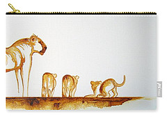 Lioness And Cubs Small - Original Artwork Carry-all Pouch