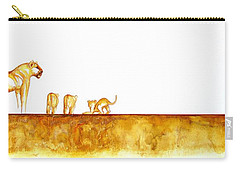Lioness And Cubs - Original Artwork Carry-all Pouch