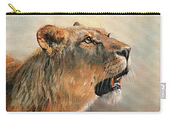 Carry-all Pouch featuring the painting Lioness Portrait 2 by David Stribbling