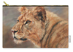 Carry-all Pouch featuring the painting Lioness Portrait by David Stribbling