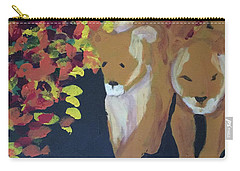 Carry-all Pouch featuring the painting Lioness' Pride 4 Of 6 by Donald J Ryker III