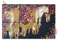 Carry-all Pouch featuring the painting Lioness Pride by Donald J Ryker III