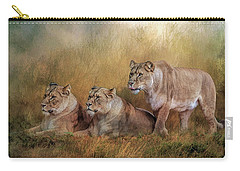 Lionesses Watching The Herd Carry-all Pouch