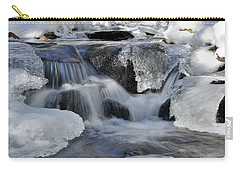 Carry-all Pouch featuring the photograph Winter Waterfall In Maine by Glenn Gordon
