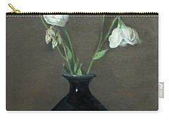 Lisianthus In Black Chinese Vase Carry-all Pouch