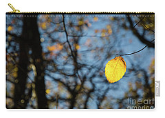 Carry-all Pouch featuring the photograph Lit Lone Leaf by Kennerth and Birgitta Kullman