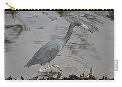 Carry-all Pouch featuring the photograph Little Blue Heron Walking by Christiane Schulze Art And Photography