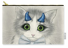 Carry-all Pouch featuring the drawing Little Blue Horns - Devil Kitten by Carrie Hawks