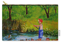 Little Boy Fishing Carry-all Pouch by Mike Caitham