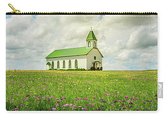 Little Church On Hill Of Wildflowers Carry-all Pouch by Robert Frederick
