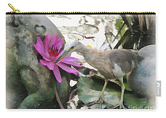 Carry-all Pouch featuring the painting Little Egret by Sergey Lukashin
