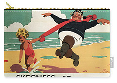 Little Girl And Old Man Playing On The Beach In Skegness, Lincolnshire - Vintage Advertising Poster Carry-all Pouch