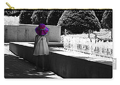 Little Girl In Magenta Hat Black And White Selective Color Carry-all Pouch