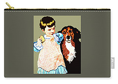 Little Girl With Hungry Mutt Carry-all Pouch
