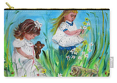 Little Girls Picking Flowers Carry-all Pouch