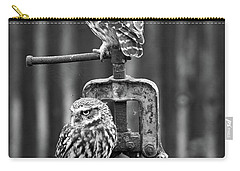 Little Owls Black And White Carry-all Pouch