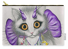 Carry-all Pouch featuring the mixed media Little Purple Horns - 1980s Cute Devil Kitten by Carrie Hawks