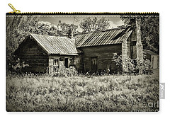Little Red Farmhouse In Black And White Carry-all Pouch by Paul Ward