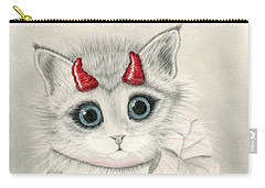 Carry-all Pouch featuring the drawing Little Red Horns - Cute Devil Kitten by Carrie Hawks
