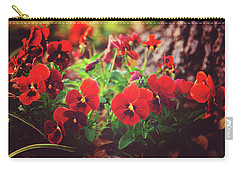Carry-all Pouch featuring the photograph Little Red Pansies by Toni Hopper