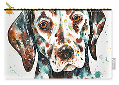 Carry-all Pouch featuring the painting Liver-spotted Dalmatian by Zaira Dzhaubaeva