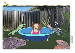 Carry-all Pouch featuring the digital art Lizard People by Megan Dirsa-DuBois