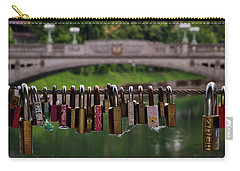 Carry-all Pouch featuring the photograph Ljubljana Love Locks - Slovenia  by Stuart Litoff