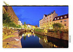 Ljubljanica River Waterfront In Ljubljana Evening View Carry-all Pouch by Brch Photography