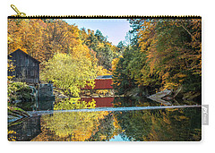 Mcconnell's Mill And Covered Bridge Carry-all Pouch by Skip Tribby