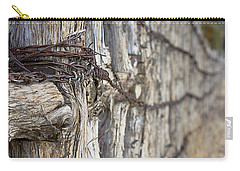 Carry-all Pouch featuring the photograph Log And Wire Fence by Phyllis Denton