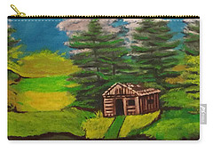Carry-all Pouch featuring the painting Log Cabin by Brindha Naveen