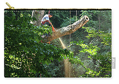 Logger Cutting Down Large, Tall Tree Carry-all Pouch